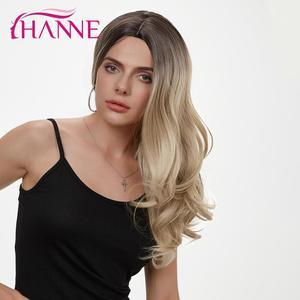 Image 4 - HANNE длинные волнистые синтетические парики Ombre светлый/серый/коричневый/розовый натуральный парик парики из высокотемпературного волокна для черных или белых женщин