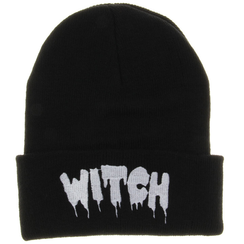 Hot New Black Acrylic Embroider Letter WITCH Beanies Hats For Women Men Unisex Adult Casual Skullies Winter Caps Knitted Gorros rosicil skullies beanies winter hats for women letter beanies women hip hot caps skullies girls gorros women beanies female
