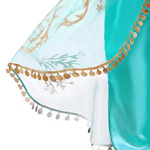 Image 5 - Ensemble deux pièces réfléchissant princesse arabe Aladdin pour enfants, Costume à paillettes, cosplay Jasmine, tenue dhalloween pour enfants