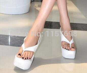 5a4748611a7c Fashion plain fashion platform women s shoes flip flop slippers wedges  ultra high heels sandals plus size in 12-in Slippers from Shoes on  Aliexpress.com ...