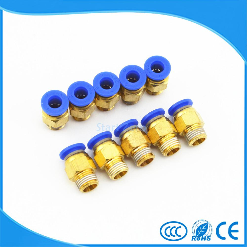 10X 6mm Tube X 1/8'' Male Thread Quick Connector Pneumatic Air Fittings PC6-01 5 pcs 5mm male thread m5 0 8 to 4mm od tube l shape pneumatic fitting elbow quick fittings air connectors