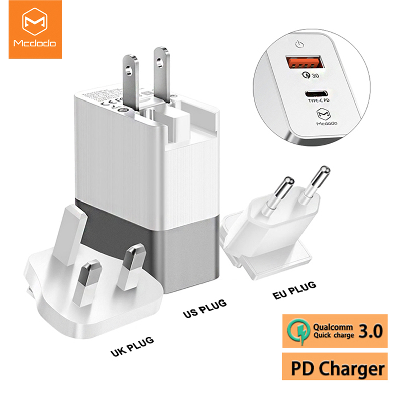Mcdodo EU US UK Plug 3 in 1 18W USB-C PD Fast Charging Universal Travel Charger 3A Wall QC 3.0 Adapter for xiaomi iPhone SamsungMcdodo EU US UK Plug 3 in 1 18W USB-C PD Fast Charging Universal Travel Charger 3A Wall QC 3.0 Adapter for xiaomi iPhone Samsung