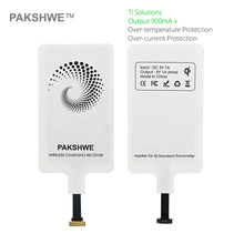 PAKSHWE Wireless Receiver Qi Wireless Charger Receiver Module for iPhone Lightning Android Micro USB Middle Type C Smartphones