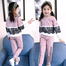 Toddler Girl Tracksuit Korea Children Kids Long Sleeve Lace T Shirt Pants Sport Suits Costume Clothes Set for Girls 12 14 Years цена 2017