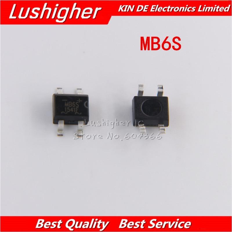 100Pcs IC MB6S 0.5A 600V Miniature Mini SMD Bridge Rectifier new