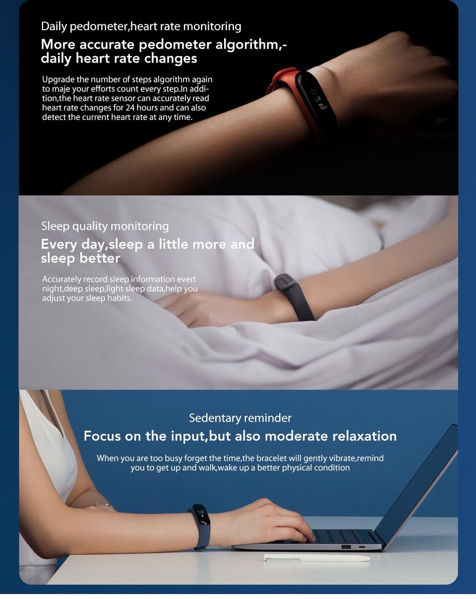 In Stock! Original Xiaomi Mi band 3 Xiomi Heart Rate Monitor Bluetooth 4.2 Xaomi Smart Sport Bracelet OLED Miband 3 Smartband  (8)