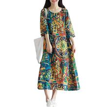 2019 New Yfashion Women Retro Floral Print Loose Casual Cotton Linen Dress