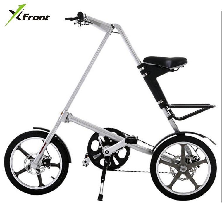 Original X Front Brand light Aluminum Alloy folding bike load 110kg 14'' / 16'' rubber tire personality bicycle