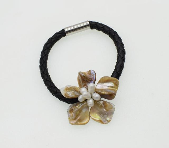 Фото пресноводный жемчуг белый рис и ракушки цветок ожерелье браслет