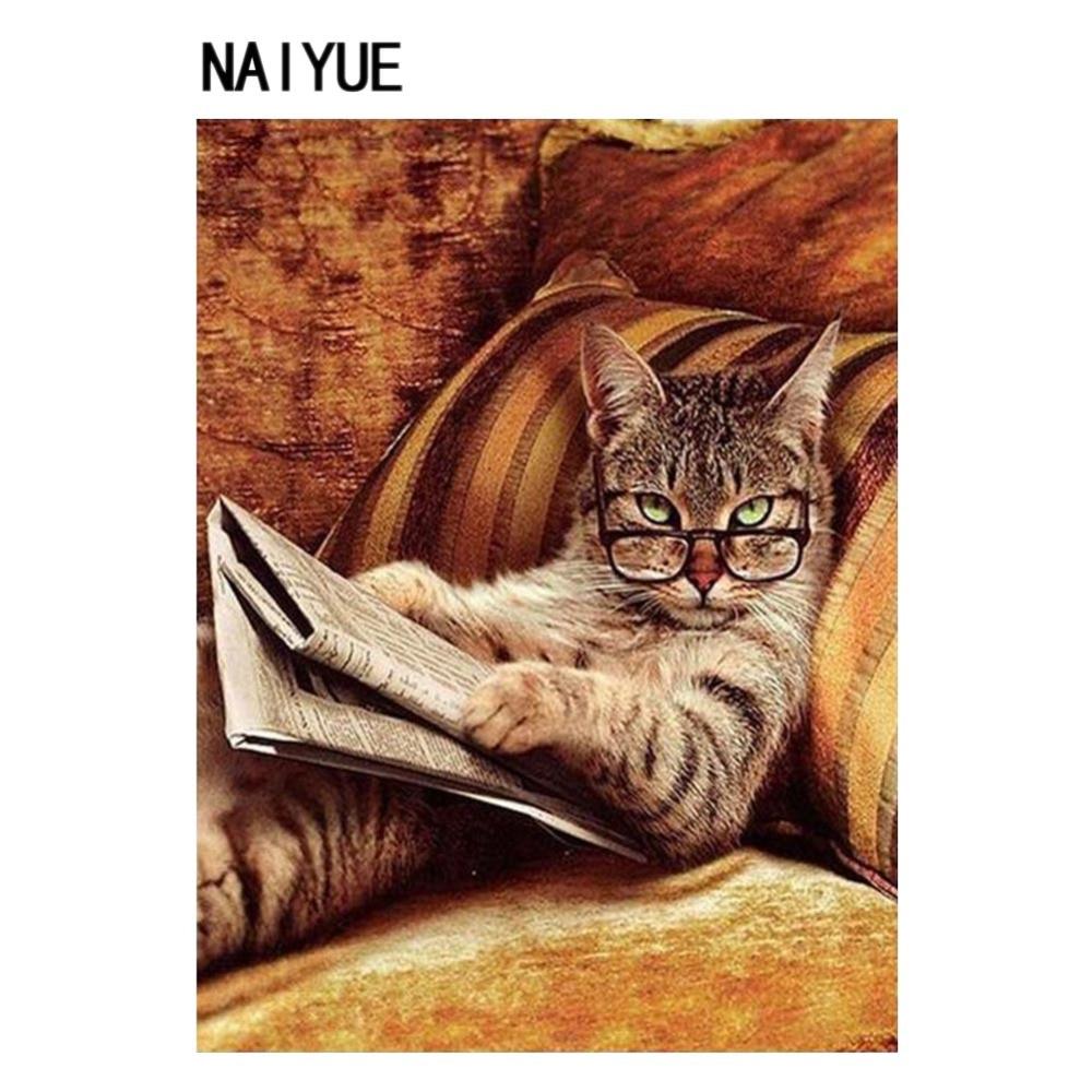 30X40cm Reading Book Cat 5D Round Diamond Painting Cross Stitch DIY Embroidery Rhinestone Mosaic Craft Decorative