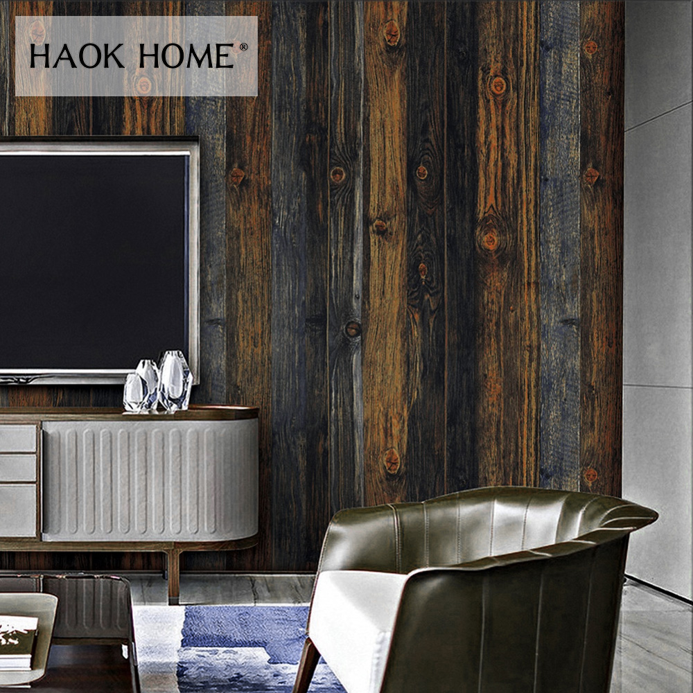 HaokHome Vintage Wood Grain PVC Wallpaper Rolls Wooden Plank Contact Paper Home Living Room Kitchen Bathroom Home Decoration