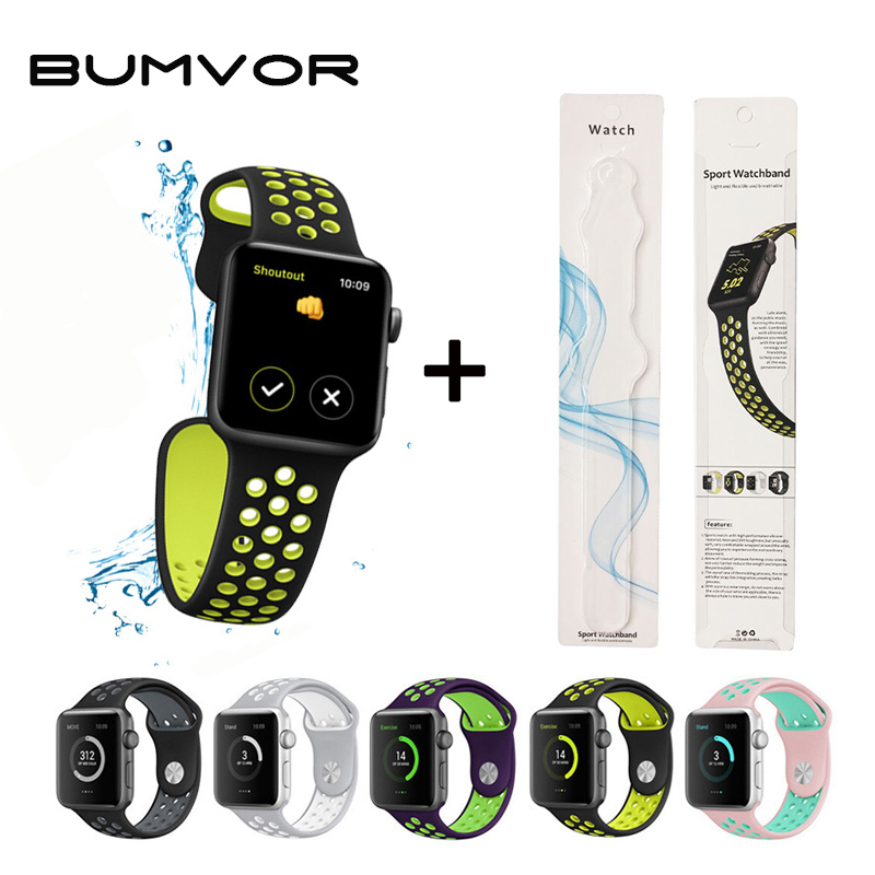 BUMVOR Soft Silicone Wristband For Apple Watch 42mm Series 3 2 1 Sport Strap Replacement Bracelet For 38mm IWatch Belts+Box jansin 22mm watchband for garmin fenix 5 easy fit silicone replacement band sports silicone wristband for forerunner 935 gps