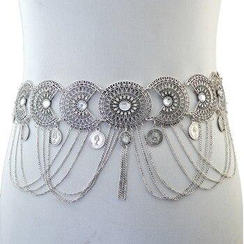 38a10e00f5c9 Gypsy indio vientre Piercing danza cinturón cintura cadenas Sexy mujer oro  plata Metal flor cristal moneda borla cuerpo cadena joyería