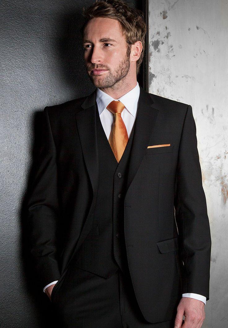 Three black men suit for men wedding dress wedding groom groomsman ...