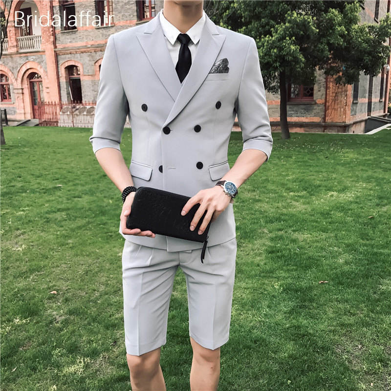 KUSON Light Sliver Men Suit with Short Pants 2018 Fashion Business Terno Masculino Mens Summer Wear Suits Set 2Pcs (Jacket+Pant)