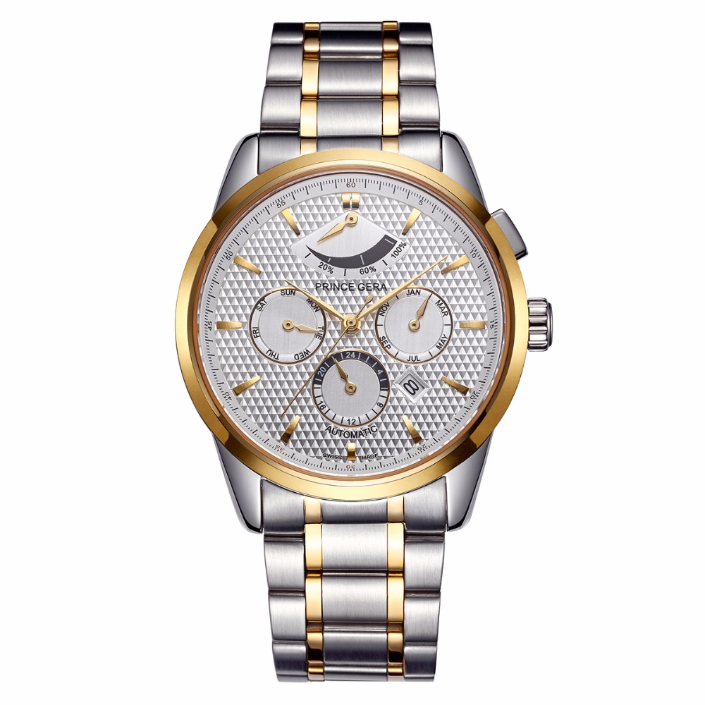 PRINCE GERA Men's Gold Two-tone Watches Waterproof Automatic Mechanical Watch Stainless Steel Band with Calendar