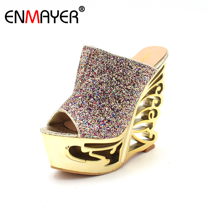 ENMAYER Shoes Woman New summer Hollow Wedges High Heels Gladiator Sandals Women Gold Silver Glitter Fashion High Heels Slippers woman fashion high heels sandals women genuine leather buckle summer shoes brand new wedges casual platform sandal gold silver