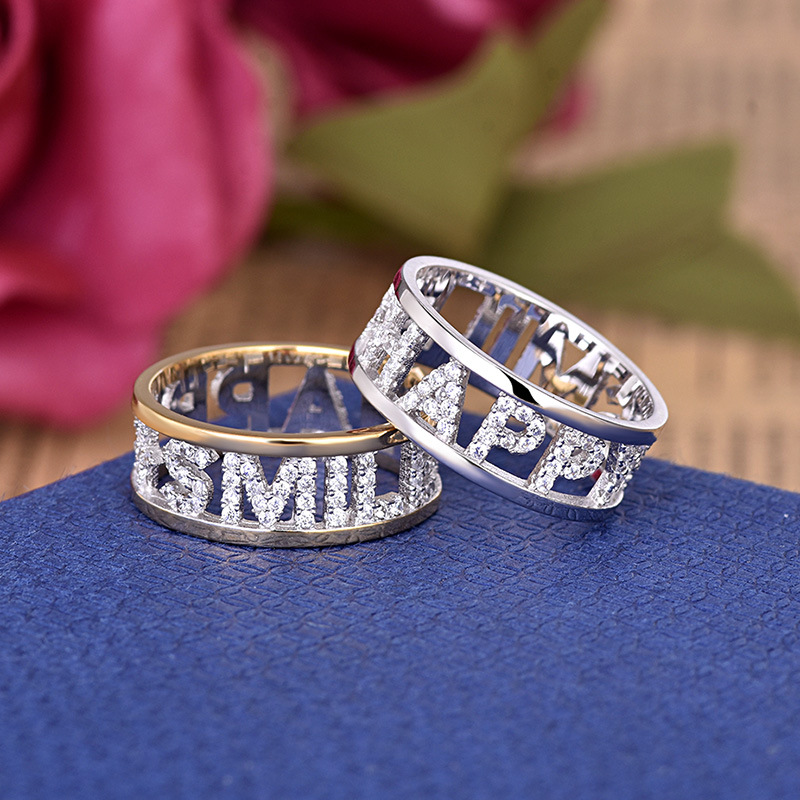 Ring for Jewelry Letters Rhinestone Engagement Fashion Women Party-Gift Female Silver-Color