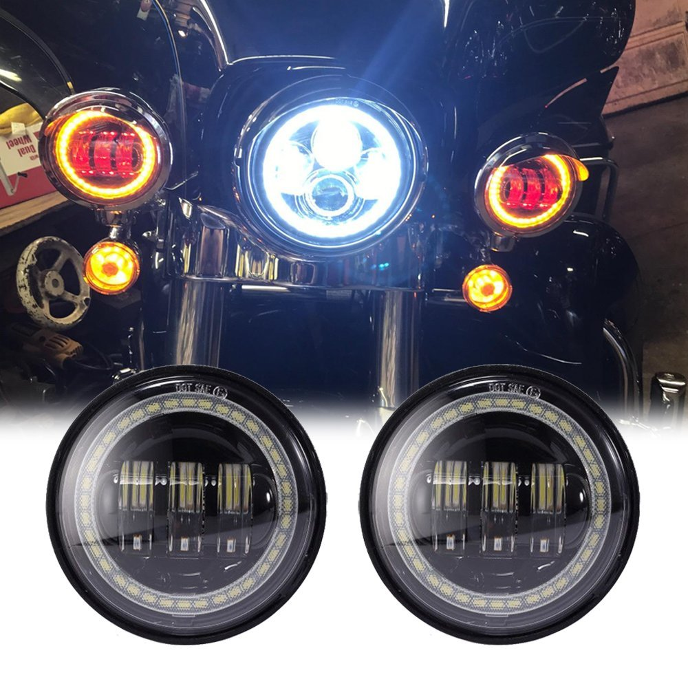 4.5 inch Fog Light white Angel eyes DRL amber turn signal Red Demon eyes LED fog Lamp for Jeep wrangler Harley Davidson