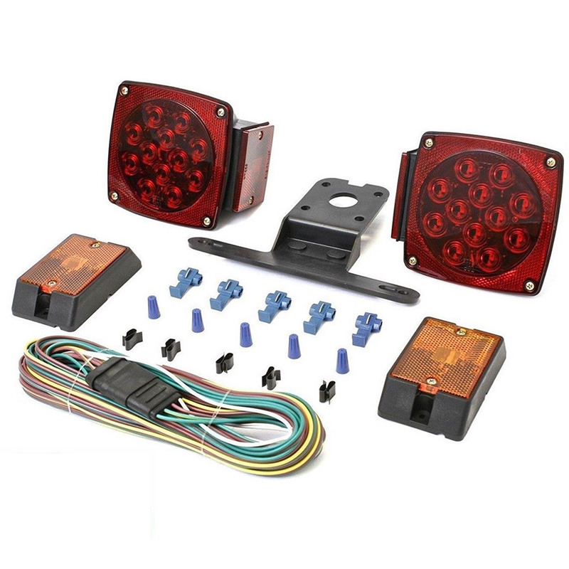 Rear Led Submersible Trailer Tail Lights Kit Boat Marker Truck Round Waterproof for trailers under 80 inches in width (9)