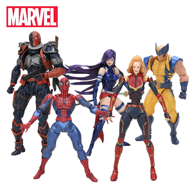 14-16cm Marvel Toys Revoltech Series Avengers Endgame Superhero Deadpool Spiderman Venom Wolverine Carnage Figma Model Doll(China)
