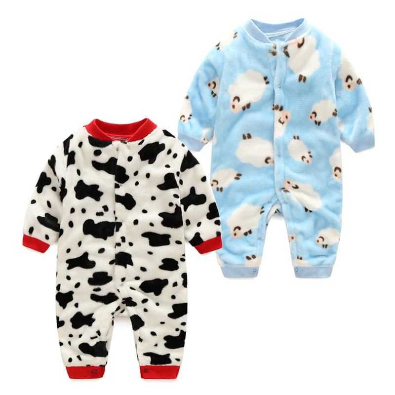 2017new Winter Polar Fleece warm baby boy girl romper clothes onepiece newborn jumpsuit long sleeve baby infant clothing bebes