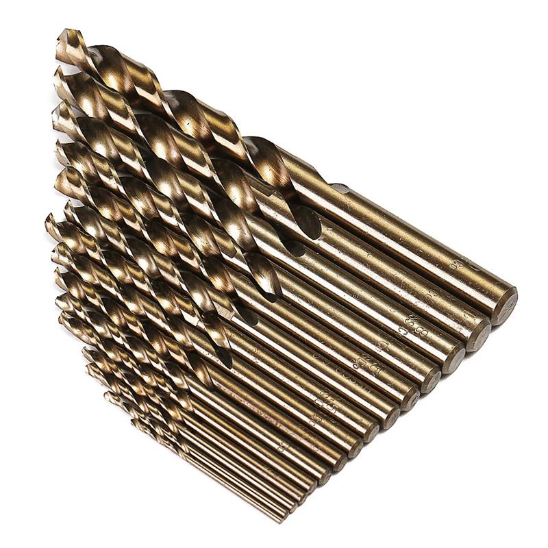 цена на 15pcs Cobalt Drill Bits Wood Working HSS Co Steel Straight Shank 1.5/2/2.5/3/3.5/4/4.5/5/5.5/6/6.5/mm Twist Drill Bit Power Tool