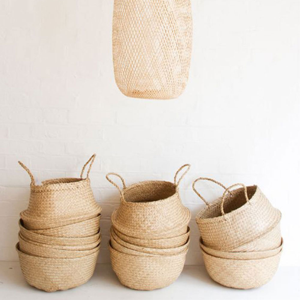 Storage Foldable Basket Plant Flower Pots Home Clothes Laundry Organizer Willow Grass Weave Wood Color Creative