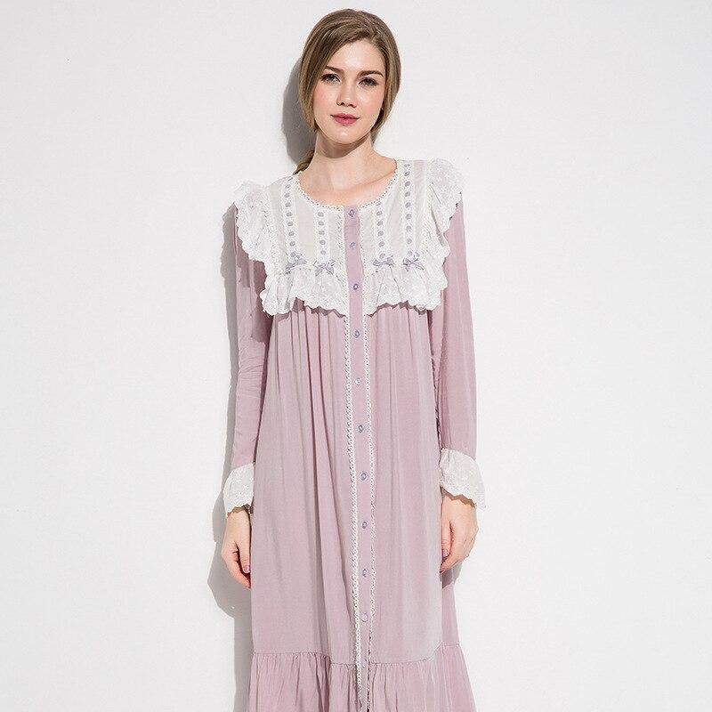 Cotton Silk Sleepwear Female Autumn Thin Style Purple Vintage Sweet Lace O-Neck Nightdress Woman Long Sleeve Nightgowns D17064cx