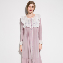 Cotton Silk Sleepwear Female Autumn Thin Style Purple Vintage Sweet Lace O-Neck Nightdress Woman Long Sleeve Nightgowns D17064cx