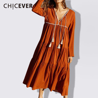 CHICEVER Tassel Suknie Dla Kobiet V Neck Z Długim Rękawem Luźne kostka Długość Sukni Kobiet Lace Up Vintage Elegent Ubrania Mody nowy