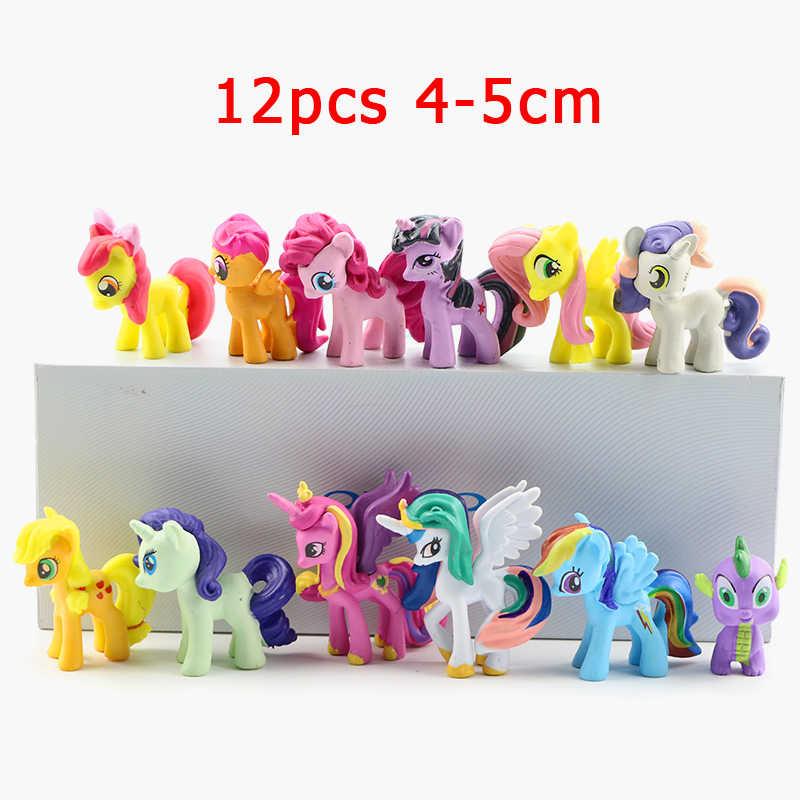12 pçs/set Meu Cavalo Pequeno Bonito Anime Action Figure PVC Adorável Mini Ponis Cavalo Toy Figuras de Ação Dolls Para A Menina presente do partido