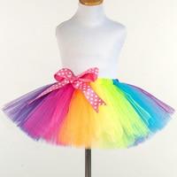 2017 New Princess Rainbow Tutu Toddler Girl Handmade Tulle Petit Skirt Child Size 2T 12T Birthday