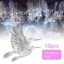 10 PCS Crystal Bird Pendant Plastic Transparent Acrylic Hanging Birds Wedding Ceiling Pendant Decoration Props