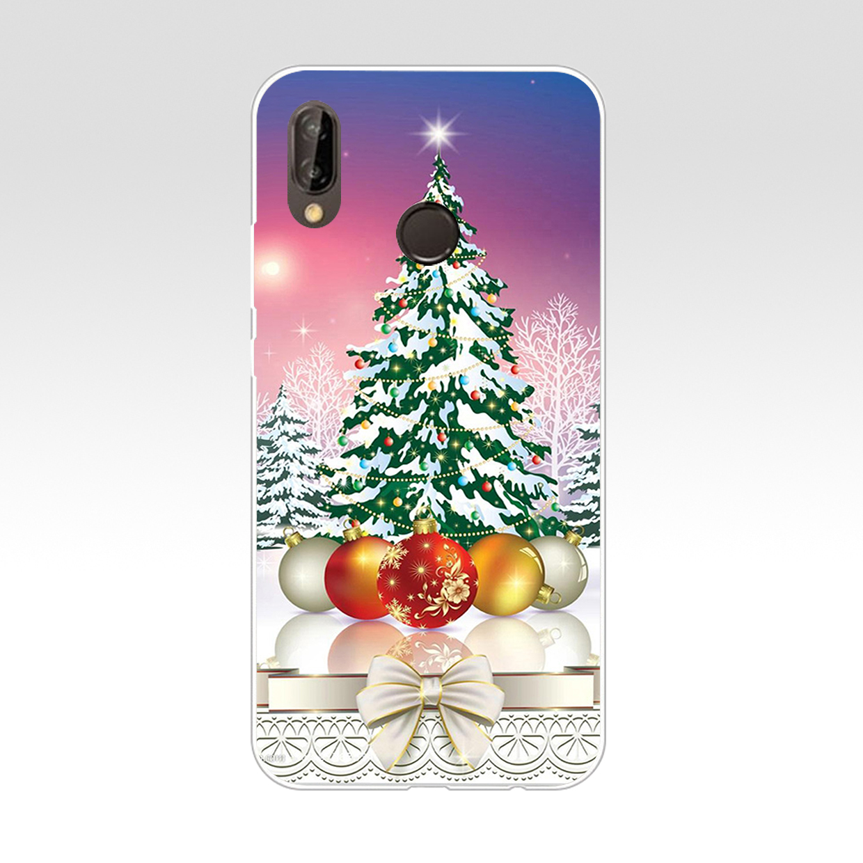 A New Year Christmas Hard Transparent Cover Case For Huawei P8 P20 Honor 9 Lite Mate 10 Pro Y6 Y5 2017