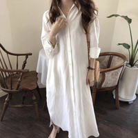 Summer Women Maxi Tshirt Dress Vestidos Women's Solid Button Long Sleeve TShirt Dress Female Casual Dress 2019