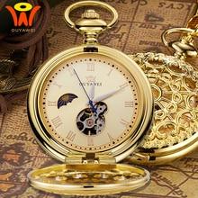 خمر الجيب الميكانيكية القمر فوب ساعة الذهب مع سلسلة ريترو الهيكل العظمي رجالي Steampunk الميكانيكية ساعة قلادة قلادة ساعة