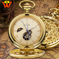 Vintage Mechanical Moon Pocket Fob Watch With Chain Retro Skeleton Mens Steampunk Mechanical Clock Necklace Pendant Watch Gift