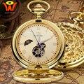 Vintage Mechanische Mond Tasche Fob Uhr Gold Mit Kette Retro Skeleton Mens Steampunk Mechanische Uhr Halskette Anhänger Uhr-in Taschenuhren aus Uhren bei