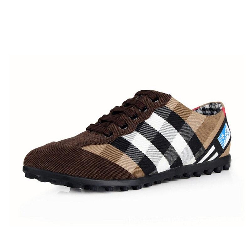 ФОТО Men Canvas Shoes Luxury Brand Casual Shoes Plimsolls Quality Plaid Flat Shoes Espadrilles Moccasines Marque Zapatillas A071809