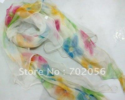 2 ply 100% silk   Scarf   silk neck   scarves     scarf     wraps   200*40cm 10pc/lot #2080