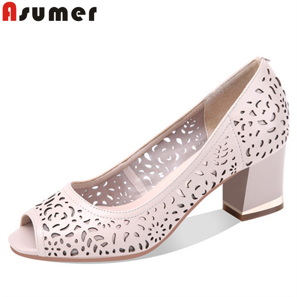ASUMER fashion peep toe shallow elegant shoes woman square heel pumps women shoes black beige genuine leather high heels shoes asumer beige fashion summer shoes woman square toe shallow elegant sandals women genuine leather high heels shoes