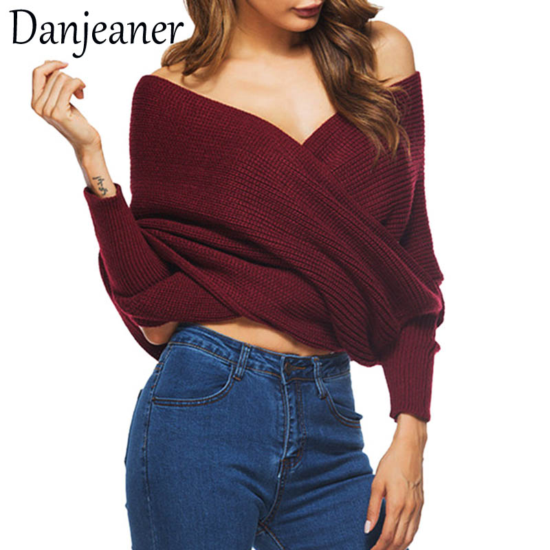 Danjeaner Long Sleeve Sweaters Women 2018 Autumn Sexy Off Shoulder Wrap Knitted Sweaters Tops V Neck Slim Pullovers Jumper Shawl