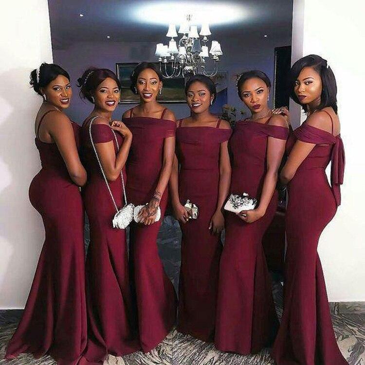 996f65b5269 2018 Charming Long Chiffon wine red Bridesmaid Dresses Vestidos de ...