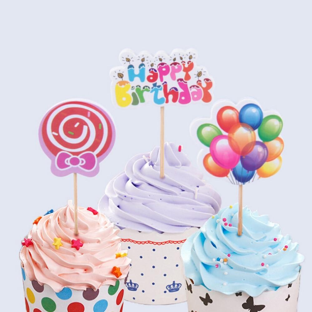 12pcsset Wedding Theme Rainbow With Balloons Cake Topper Birthday