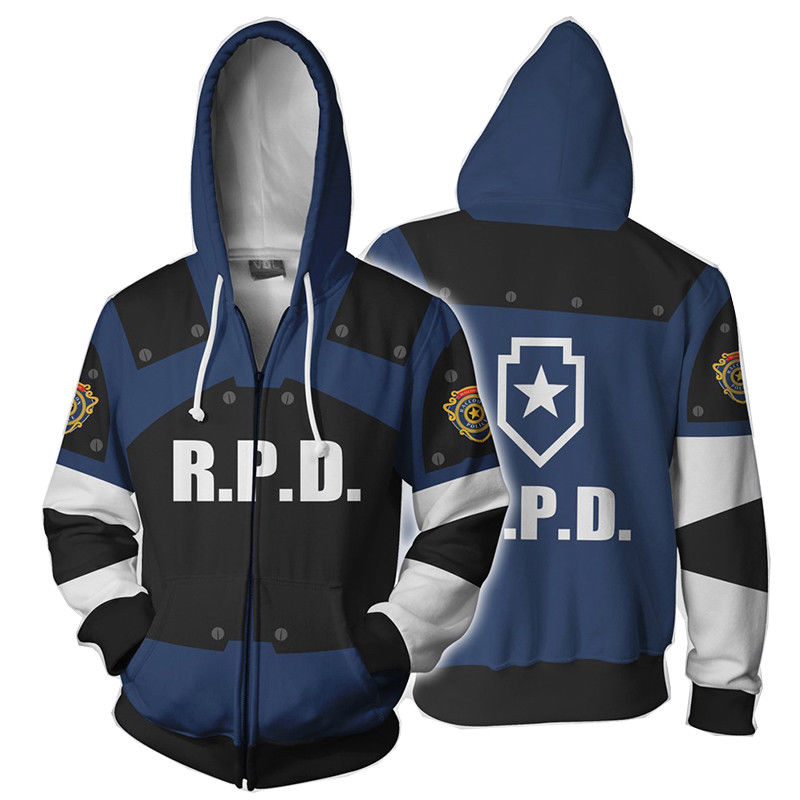 Game Resident Evil RPD STARS Raccoon Hoodie Cosplay Zipper Jacket Costume  Sweatshirt  Cap Hoodies