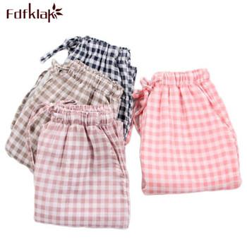 Wiosenne damskie spodnie do spania piżamy spodnie damskie spodnie do bielizny Polka Dot damskie spodnie codzienne luźna bawełniana spodnie do domu E1172 tanie i dobre opinie Fdfklak Poliester COTTON WOMEN Czesankowej 12345 Sznurek Cotton Polyester Plaid Pełnej długości Wiosna Spać dna M L XL