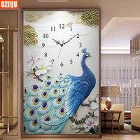 UzeQu 5D DIY Diamond Painting Cross Stitch Wall Clock Peacock Diamond Embroidery Full Round Diamond Mosaic