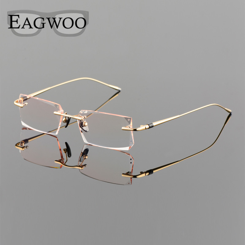 Titanium Alloy Eyeglasses Men Rimless Prescription Optical