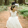 2016 Hot Delicate Ivory lace Flower Girl Dress with Scoop Neckline Tank A-line Floor Length Satin Sash Flower Girl Dress for Wed